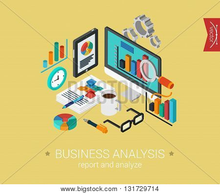Business analysis flat 3d isometric vector infographic