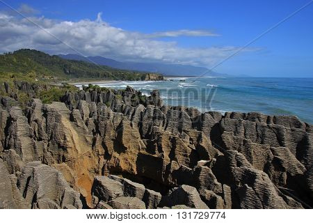 Pancake Rocks and blowhole in Punakaiki New Zealand.