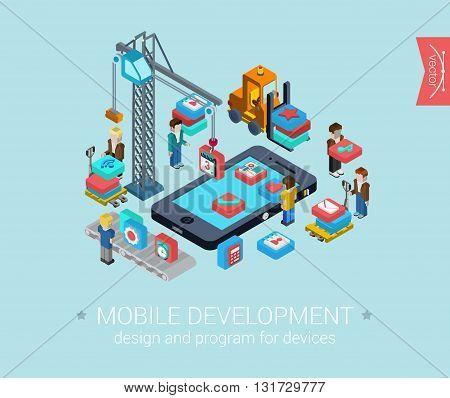 Mobile development app programming flat 3d isometric infographic