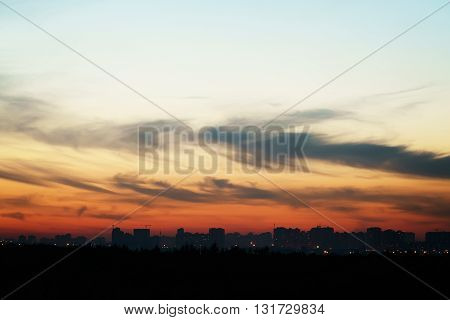 evening sunset sky over Saint-Petersburg, silhouette buildings