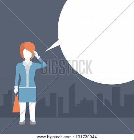Comic flat template vector woman talking phone empty message