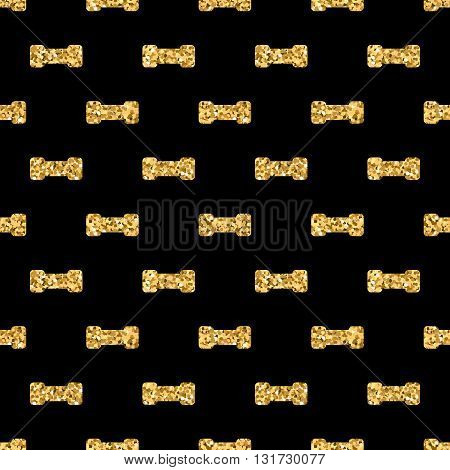 Dumbbell geometric seamless pattern. Gold glitter sequin black template. Abstract texture. Golden luxury prints. Retro vintage decoration. Design for wallpaper wrapping textile. Vector Illustration.