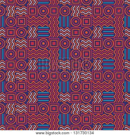 Background vector illustration seamless pattern of colored squares circles waves and lines.