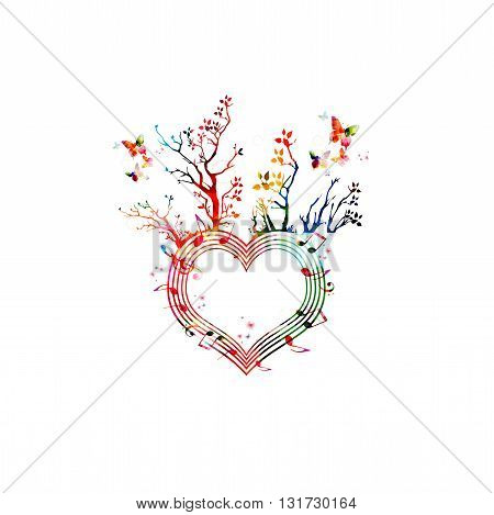 Vector illustration of colorful heart shaped stave with trees