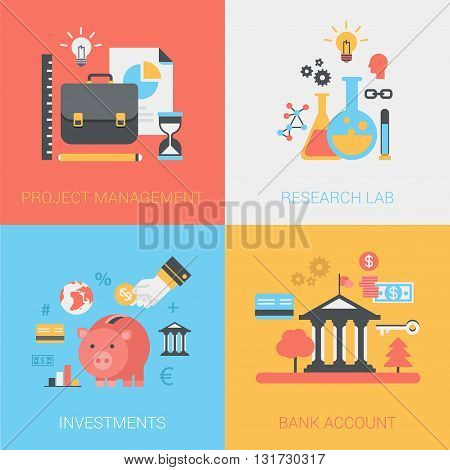 Project management, research lab, investments, bank account flat