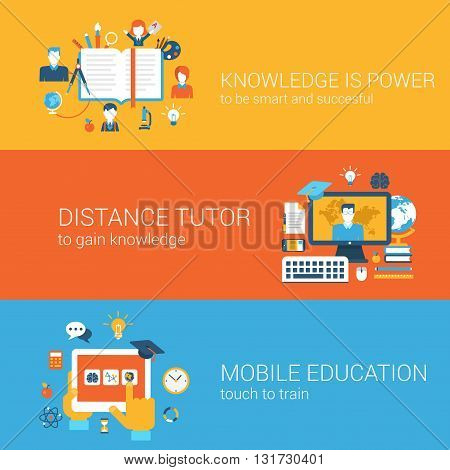 Flat knowledge is power, distance tutor mobile education concept