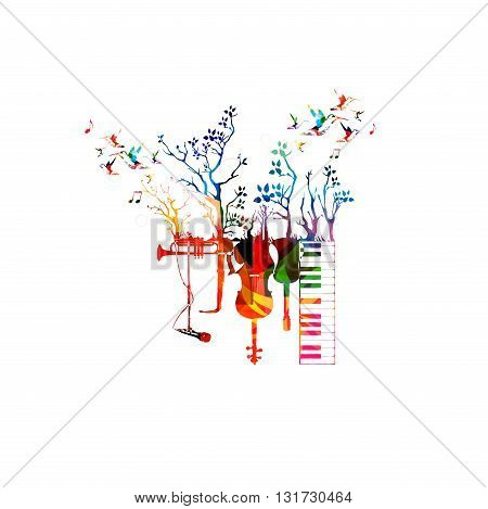 Vector illustration of colorful music instruments with trees