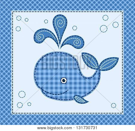 Cute cartoon little whale. Vector patchwork illustration.