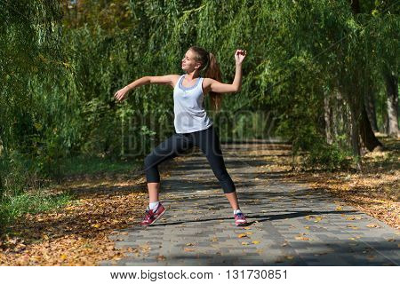 Attractive Woman stretching before Fitness and Exercise, Outdoor