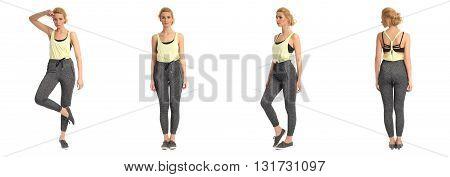 Full Length Portrait Of Beautiful Women In Leggings