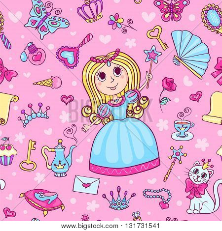 Seamless pattern with cute little princess. Cartoon vector background.