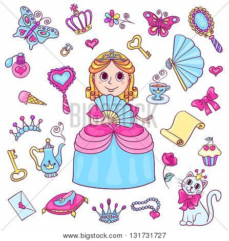 Set with cute little princess with a diadem. Cartoon vector illustration for children. Isolated on white.