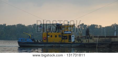 BELGRADE/SERBIA-OCTOBER 23, 2015: Panon river boat on the Sava River. October 23, 2015-Belgrade/Serbia