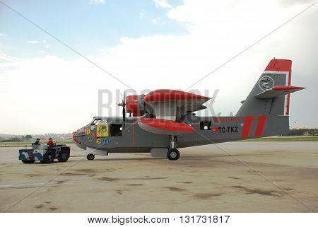 ANKARA-TURKEY-MAY 6, 2012 : Firefighter aircraft Canadair CL-215 pushback position at the Turkish Air Association-THK's Etimesgut Airport. May 6, 2012-Ankara/Turkey