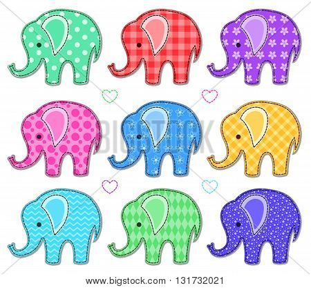 Set of nine cute color elephants. Vector cartoon illustration. Isolated on white.