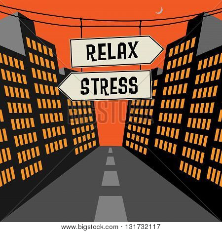 Road signs in a street with text Relax or Stress, vector Illustration