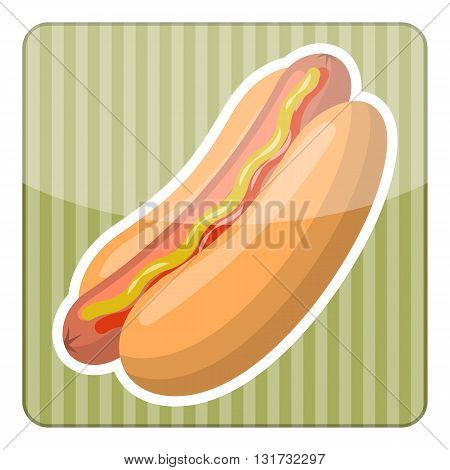 Hot dog colorful icon. Vector illustration in cartoon style