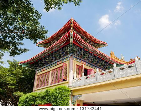 Chiness Temple on the blue sky. China's spectacular architecture Buddhist temples.