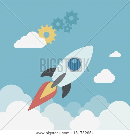 Flat style modern business start up spaceship launch concept