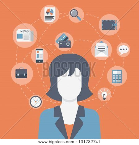 Businesswoman flat vector modern web infographic collage