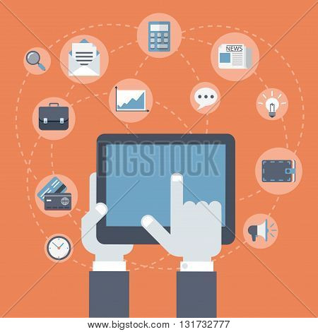 Business innovation finance payment tablet flat vector concept