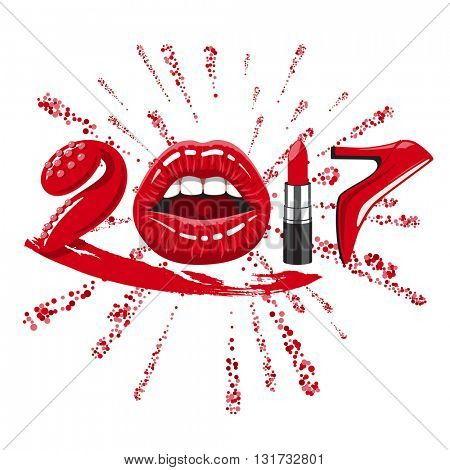Happy new 2017 year. woman things. Red glossy lips of open mouth, makeup lipstick, high heels shoes. Vector illustration