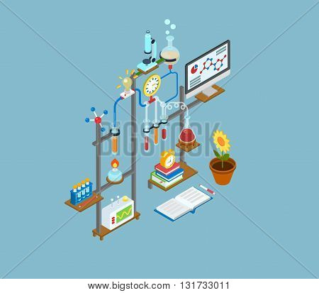 Flat 3d web isometric scientific lab infographic concept icon