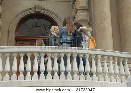 BELGRADE/SERBIA-OCTOBER 24, 2015:Visitors at the Nikola Tesla Museum's Entrance. October 24, 2015-Belgrade/Serbia
