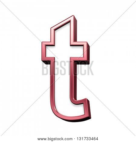 One lower case letter from white with red shiny frame alphabet set, isolated on white. 3D illustration.
