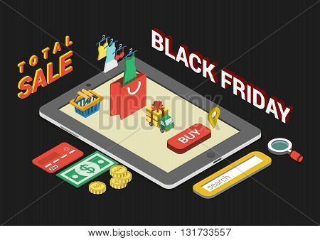 Flat 3d web isometric black friday sale infographic concept