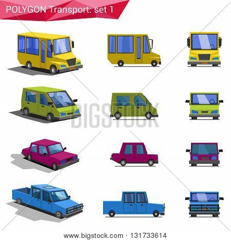 Polygonal vector transport icon set: bus, van, car, pickup