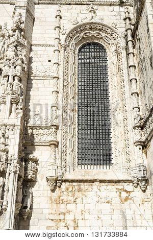 Architectural detail, Jeronimos monastery in Lisbon, Portugal