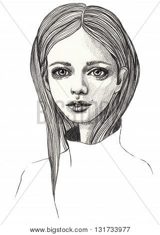 Portrait of a beautiful girl. Sketch. Pencil fashion illustration on white isolated background