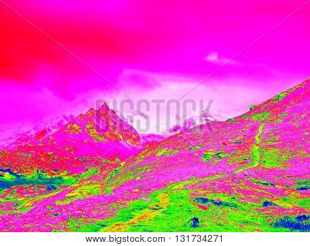 Spring Mountains In Infrared Photo. Amazing Thermography.