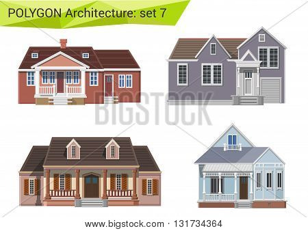 Polygonal vector house and building: countryside and suburb