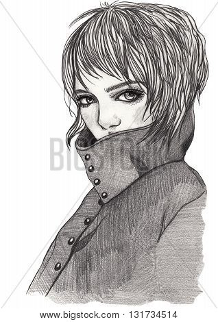 Portrait of a girl in a coat. A girl with short hair. Sketch. Pencil fashion illustration on white isolated background