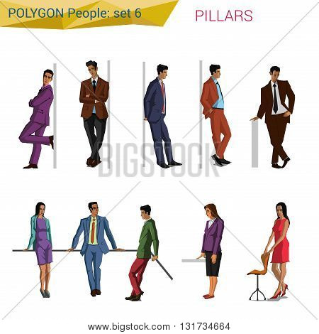 Polygonal vector people at pillar. Polygon people collection.