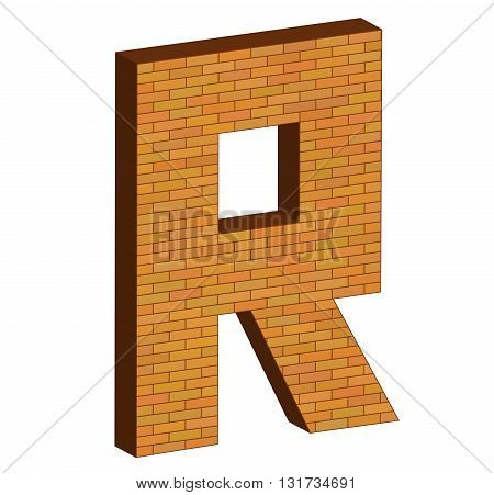 3D Letter Alphabet Of Brick