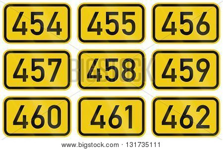 Collection Of Numbered Highway Shields Of German Bundesstrassen (federal Roads)