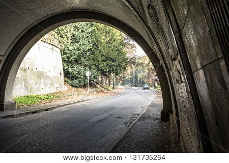 View of Valentino park through the tunnel in Turin, Italy