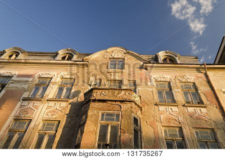 Old building facade with ornament in Ruse