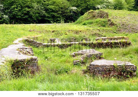 Walls in ruin of a former foundry in a forest in Belgium.
