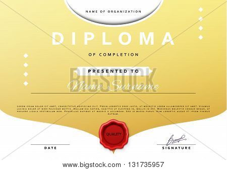 Ready design certificate for promotion with red sealing wax.