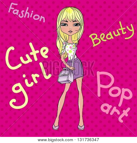 Pop Art cute beautiful fashionable girl in skirts with bags. T-shirt Graphics. Girl print.