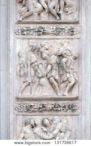 BOLOGNA, ITALY - JUNE 04: The cup hidden in Benjamin's sack by Antonio da Settignano, right door of San Petronio Basilica in Bologna, Italy, on June 04, 2015