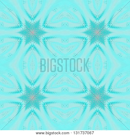Geometric seamless background, abstract frost pattern. Regular stars turquoise and pastel blue with pink elements on light silver gray, delicate and icy.