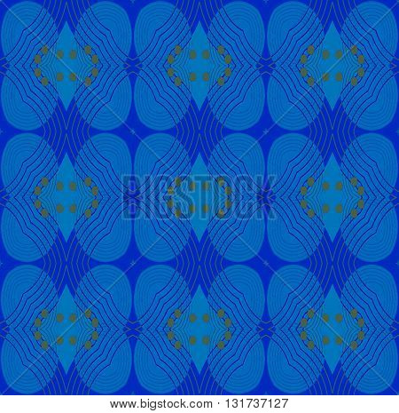 Abstract geometric seamless background. Ornate ellipses and diamond pattern in azure and dark blue with yellow circles and outlines.