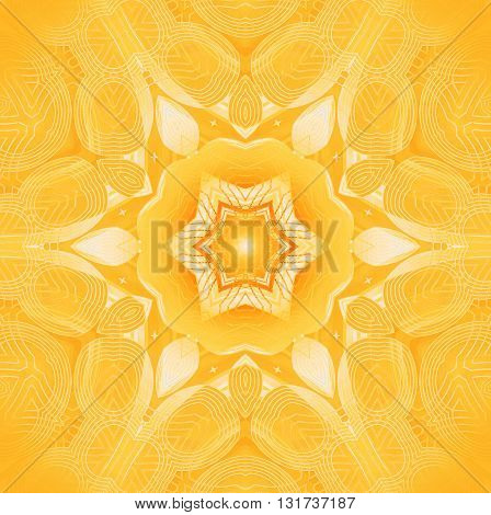 Abstract geometric seamless background. Delicate star ornament white, beige, bright yellow and orange, centered and blurred.