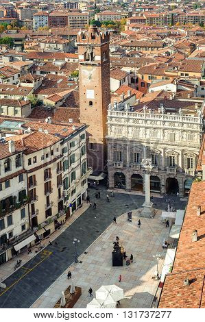Aerial View Of The Piazza Delle Erbe, Verona, Italy