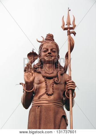 Frontal shot of giant Lord Shiva statue in Grand Bassin, Mauritius